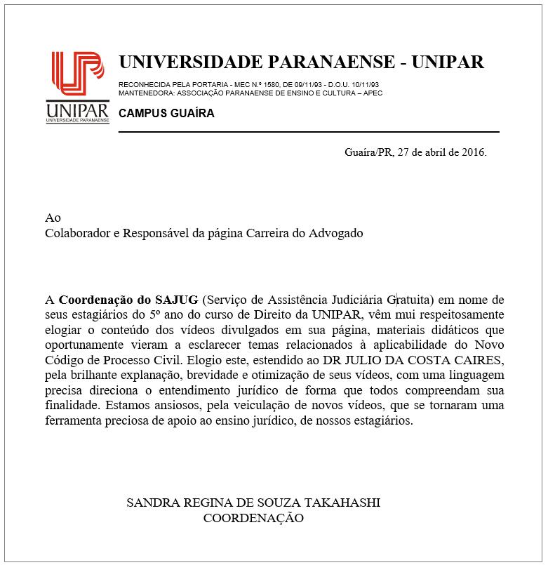CARREIRA DO ADVOGADO recebe reconhecimento da UNIVERSIDADE PARANAENSE (UNIPAR)