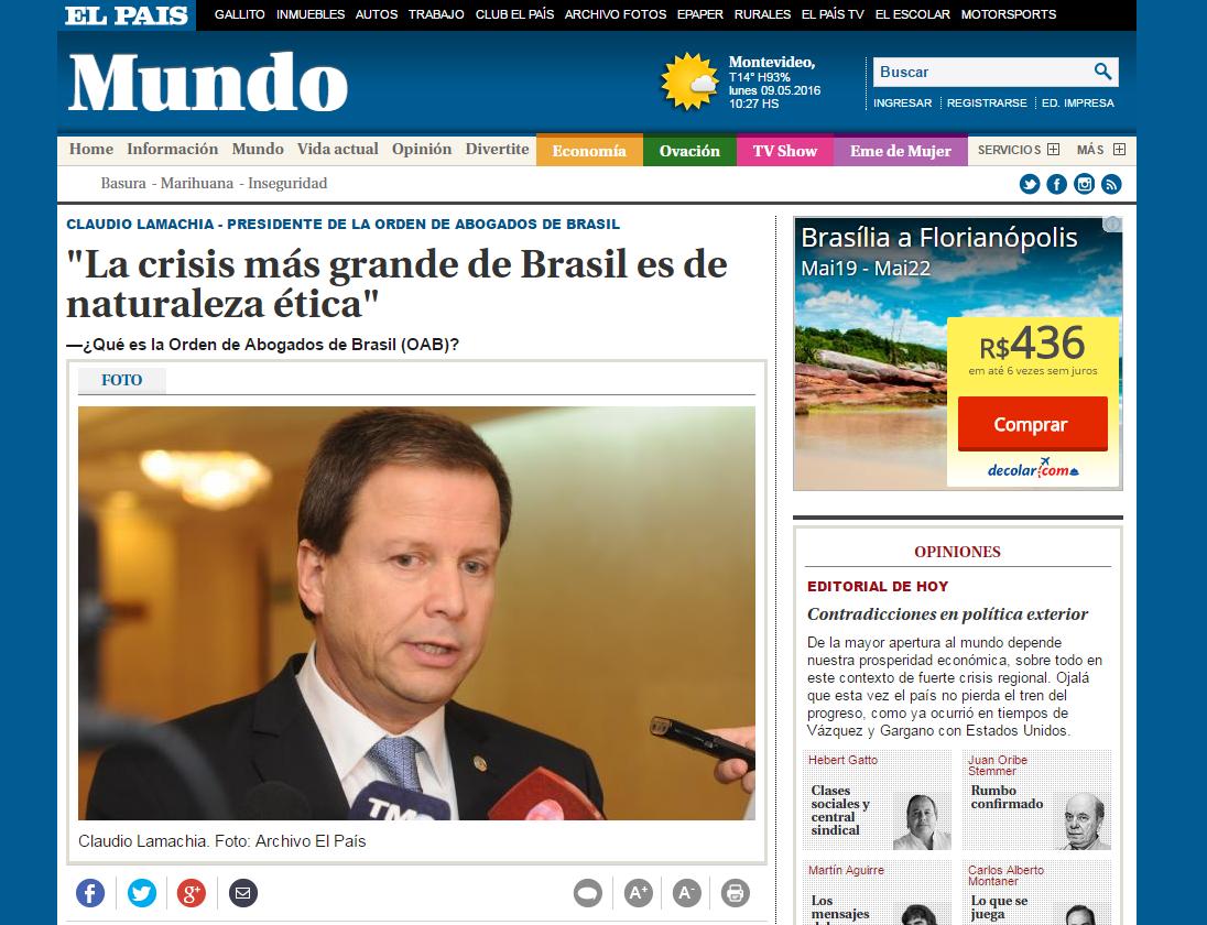 """""""A maior crise do Brasil é de natureza ética"""", afirma Lamachia ao jornal El Pais"""