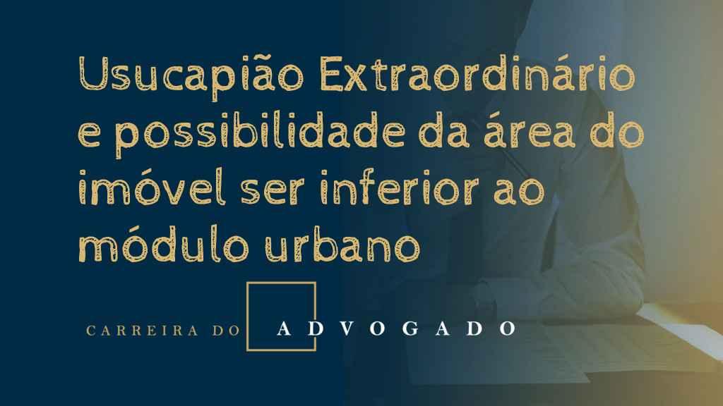Usucapião Extraordinário e possibilidade da área do imóvel ser inferior ao módulo urbano